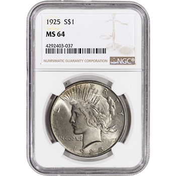 1925 US Peace Silver Dollar $1 - NGC MS64