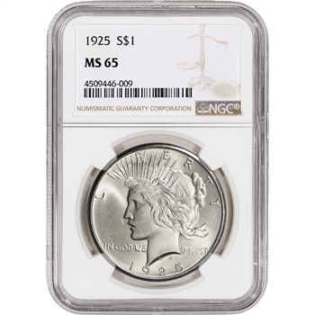 1925 US Peace Silver Dollar $1 - NGC MS65