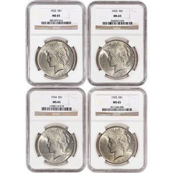 4-pc. 1922 - 1925 US Peace Silver Dollars $1 - NGC MS65