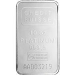 10 oz. Platinum Bar Credit Suisse - 999.5 Fine with Assay