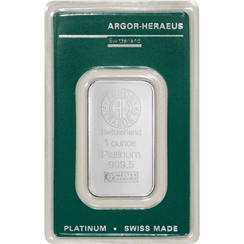 1 oz. Platinum Bar - Argor Heraeus - 999.5 Fine in Assay