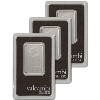 1 oz. Platinum Bar - Valcambi Suisse - 999.5 Fine in Assay - Three 3 Bars
