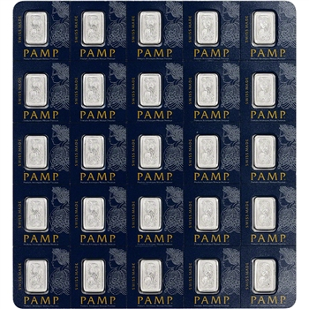 25x1 gram Platinum Bar - PAMP Suisse - Fortuna - 999.5 Fine in Sealed Assay