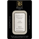 1 oz. Rhodium Bar - Baird & Co - 999.0 Fine in Assay Black Card