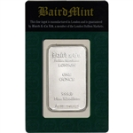 1 oz. Rhodium Bar - Baird & Co - 999.0 Fine in Assay Green Card