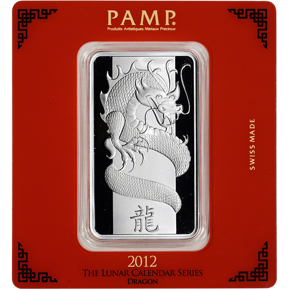 PAMP Suisse 100 gram Silver Bar Year of the Dragon .999 Fine in Assay