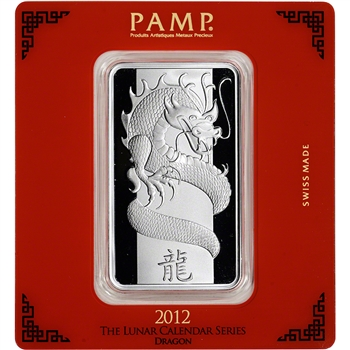 100 gram Silver Bar - PAMP Suisse - Lunar Year of the Dragon .999 Fine in Assay