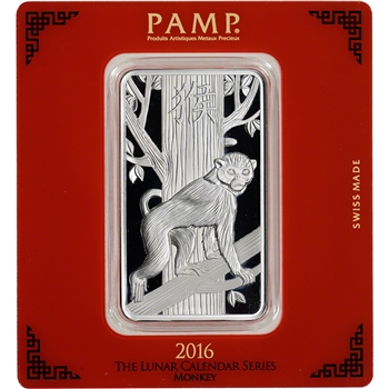 100 gram Silver Bar - PAMP Suisse - Lunar Year of the Monkey .999 Fine in Assay