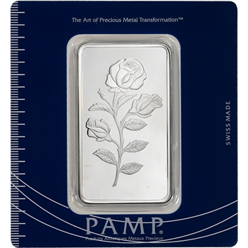 100 gram Silver Bar - PAMP Suisse - Rosa Rose .999 Fine in Assay