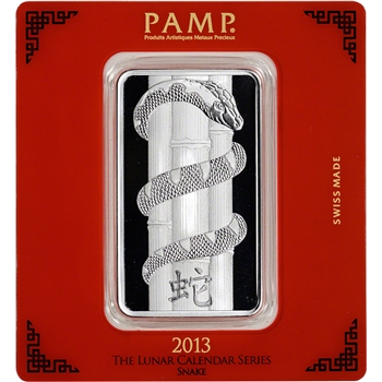 100 gram Silver Bar - PAMP Suisse - Lunar Year of the Snake .999 Fine in Assay