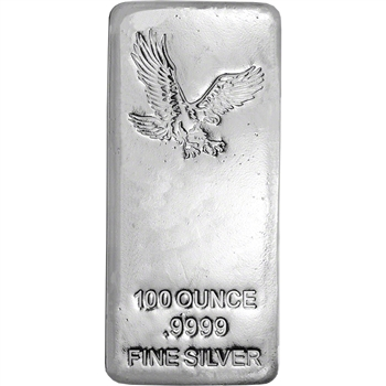 100 oz Silver Bar CNT Eagle Design .9999 Fine