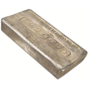 100 oz. Silver Bar - Englehard (Poured) .999 Fine