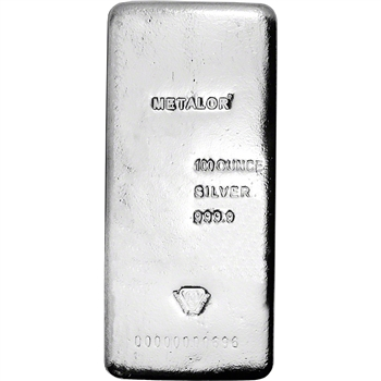 100 oz Silver Bar Metalor .9999 Fine