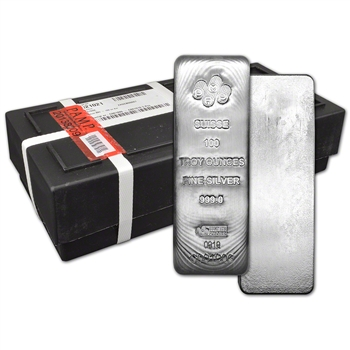 100 oz Silver Bar PAMP Suisse .999 Fine Assay Certificate Sealed Box of 5 Bars