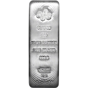 100 oz Silver Bar - PAMP Suisse .999 Fine with Assay Certificate