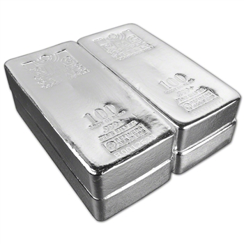 FOUR (4) 100 oz. RMC Silver Bar - Republic Metals Corp (Pour) .999+ w/Serial #