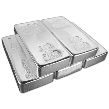 FIVE (5) 100 oz. RMC Silver Bar - Republic Metals Corp (Pour) .999+ w/Serial #