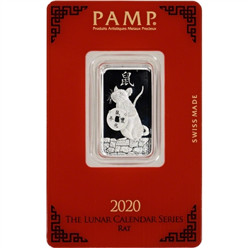 10 gram Silver Bar - PAMP Suisse - Lunar Year of the Rat - .999 Fine in Assay
