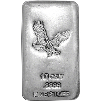 10 oz Silver Bar CNT Eagle Design .9999 Fine Sealed