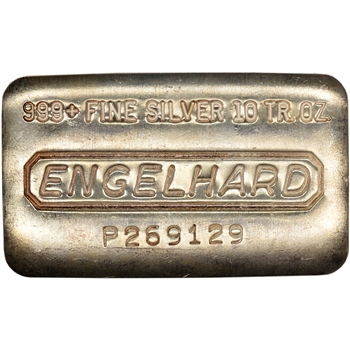 10 oz. Silver Bar - Engelhard .999 Fine - Wide/Serial/Pressed