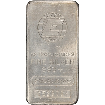 "10 oz. Silver Bar - Engelhard .999 Fine - Tall ""E""/Serial/Logo"