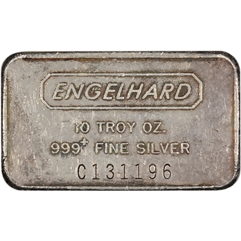 10 oz. Silver Bar - Engelhard .999 Fine - Wide/Serial/Frosted