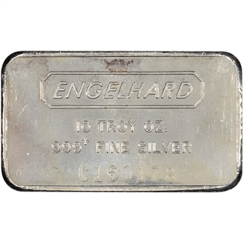 10 oz. Silver Bar - Engelhard .999 Fine - Wide/Serial/Logo