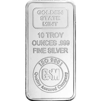 10 oz. Golden State Mint Silver Bar - .999 Fine