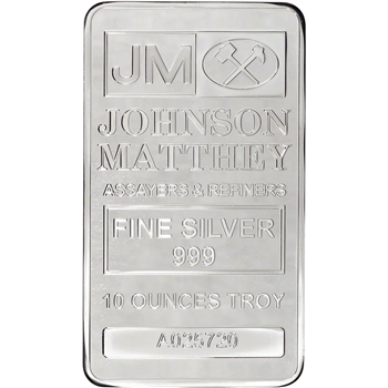 10 oz. JM Silver Bar - Johnson Matthey .999 Fine
