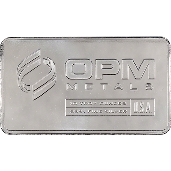 10 oz. Silver Bar - OPM (Ohio Precious Metals) .999 Fine