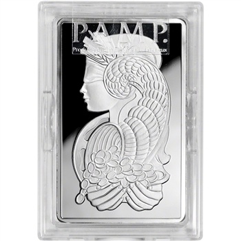 10 oz. Silver Bar - PAMP Suisse - Fortuna - .999 Fine in Plastic case with Assay