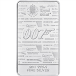10 oz Silver Bar - Royal Mint - James Bond 007 No Time To Die 999.9 Fine