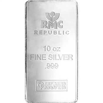 10 oz. RMC Silver Bar - Republic Metals Corp .999 Fine