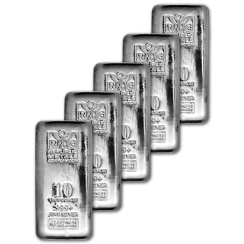 FIVE (5) 10 oz. RMC Silver Bar - Republic Metals Corp - 999 Fine (Cast)