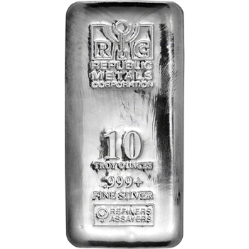 10 oz. RMC Silver Bar - Republic Metals Corp - 999 Fine (Cast)
