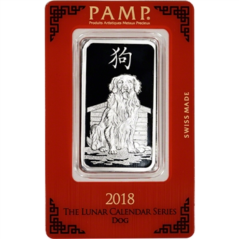 1 oz. Silver Bar - PAMP Suisse - Lunar Year of the Dog - .999 Fine in Assay