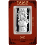 1 oz. Silver Bar - PAMP Suisse - Lunar Year of the Dragon - .999 Fine in Assay
