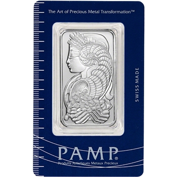 1 oz. Silver Bar - PAMP Suisse - Fortuna - .999 Fine in Assay