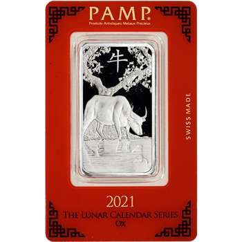 1 oz. Silver Bar - PAMP Suisse - Lunar Year of the Ox - .999 Fine in Assay