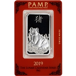 1 oz. Silver Bar - PAMP Suisse - Lunar Year of the Pig - .999 Fine in Assay