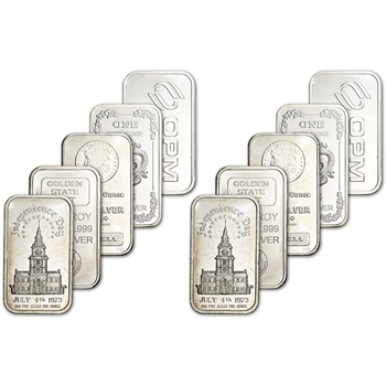 1 oz Silver Bar - Random Brand Secondary Market .999 Fine - TEN (10) Bars
