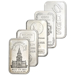 1 oz Silver Bar - Random Brand Secondary Market .999 Fine - FIVE (5) Bars