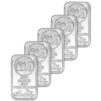 FIVE 1 oz. SilverTowne Silver Bar - Trademark Prospector Design - 999 Fine