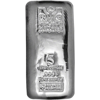 5 oz. RMC Silver Bar - Republic Metals Corp - 999 Fine (Cast)