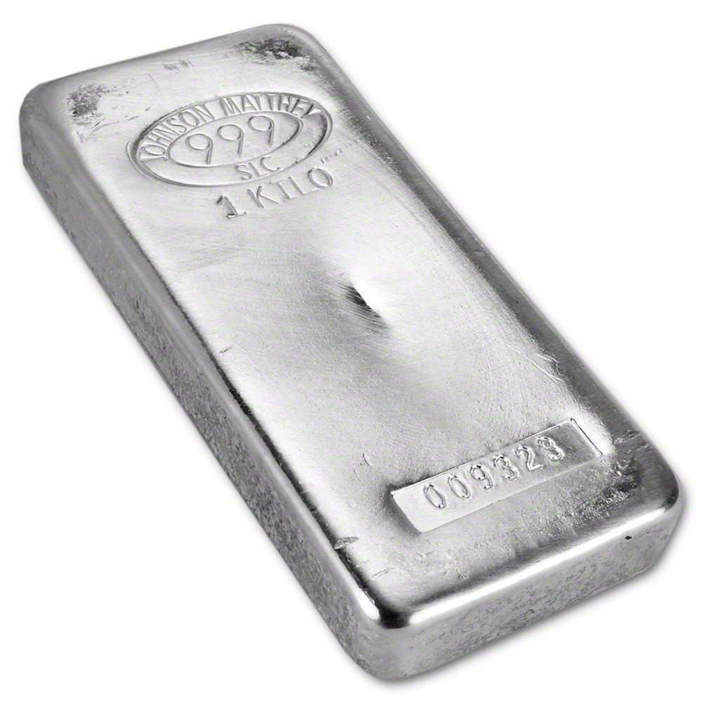 1kg Johnson Matthey Amp Mallory Poured 999 Fine Silver Bar