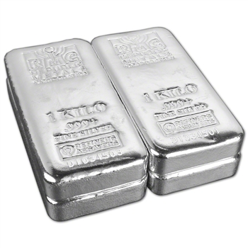 FOUR (4) Kilo (32.15 oz.) RMC Silver Bar - Republic Metals Corp (Pour) .999+