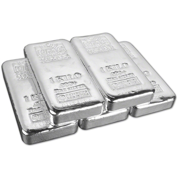 FIVE (5) Kilo (32.15 oz.) RMC Silver Bar - Republic Metals Corp (Pour) .999+