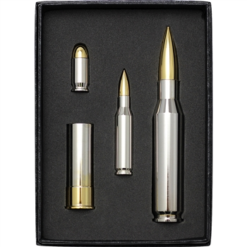 18 oz Gilt Silver Bullet Set 12 Gauge .45 .50 .308 Caliber .999 Fine in Gift Box