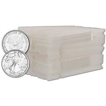 100 pc. 1/4 oz. Highland Mint Silver Round Liberty .999  4 Rolls Tubes of 25