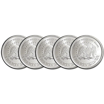 FIVE (5) 1 oz. Silver Round - A-Mark Liberty .999+ Pure Silver AMARK